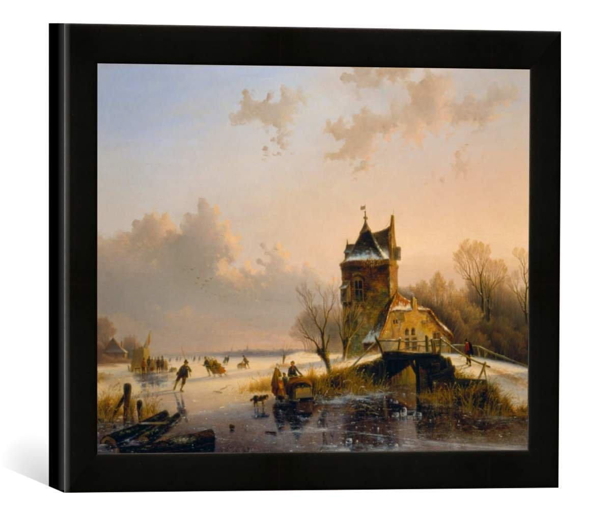 Gerahmtes Bild von Jacobus Freudenberg Winterlandschaft mit Eisläufern, Kunstdruck im hochwertigen handgefertigten Bilder-Rahmen, 40x30 cm, Schwarz matt