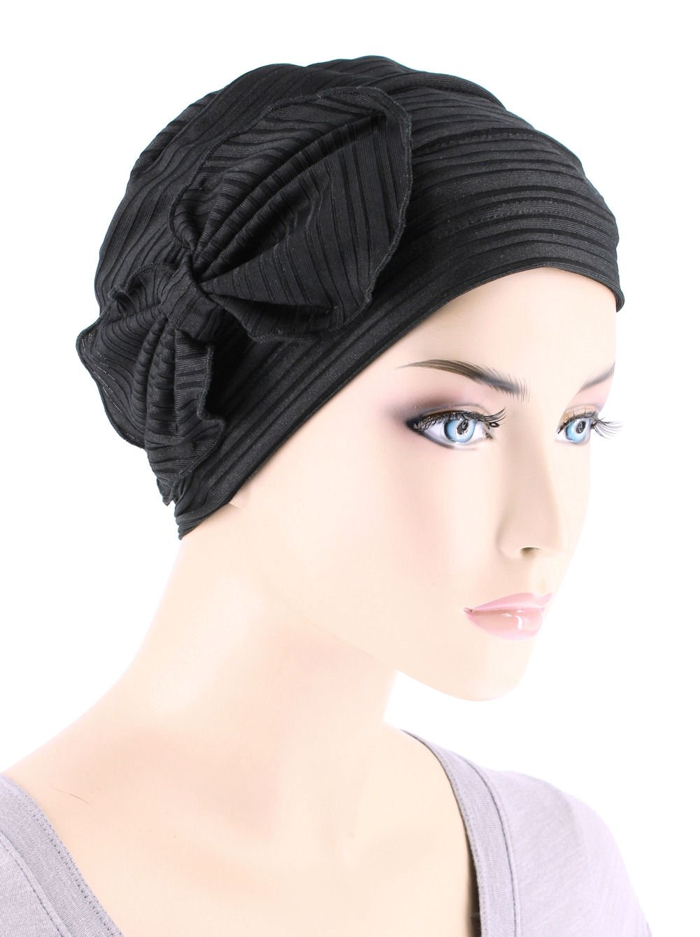 Chemo Fashion Scarf Chemo Summer Hat Ribbed Flower Bow Cloche Beanie Cancer Cap Ribbed Black