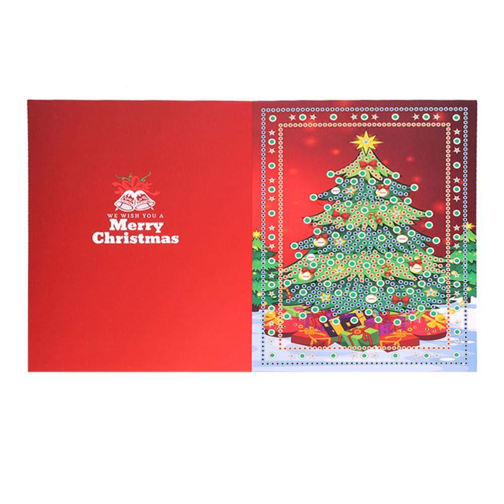 Demiawaking Biglietti di Auguri Natale Inviti per Feste di Natale Fai da te 5D Diamond Painting Biglietti Inviti per Famiglia e Amici