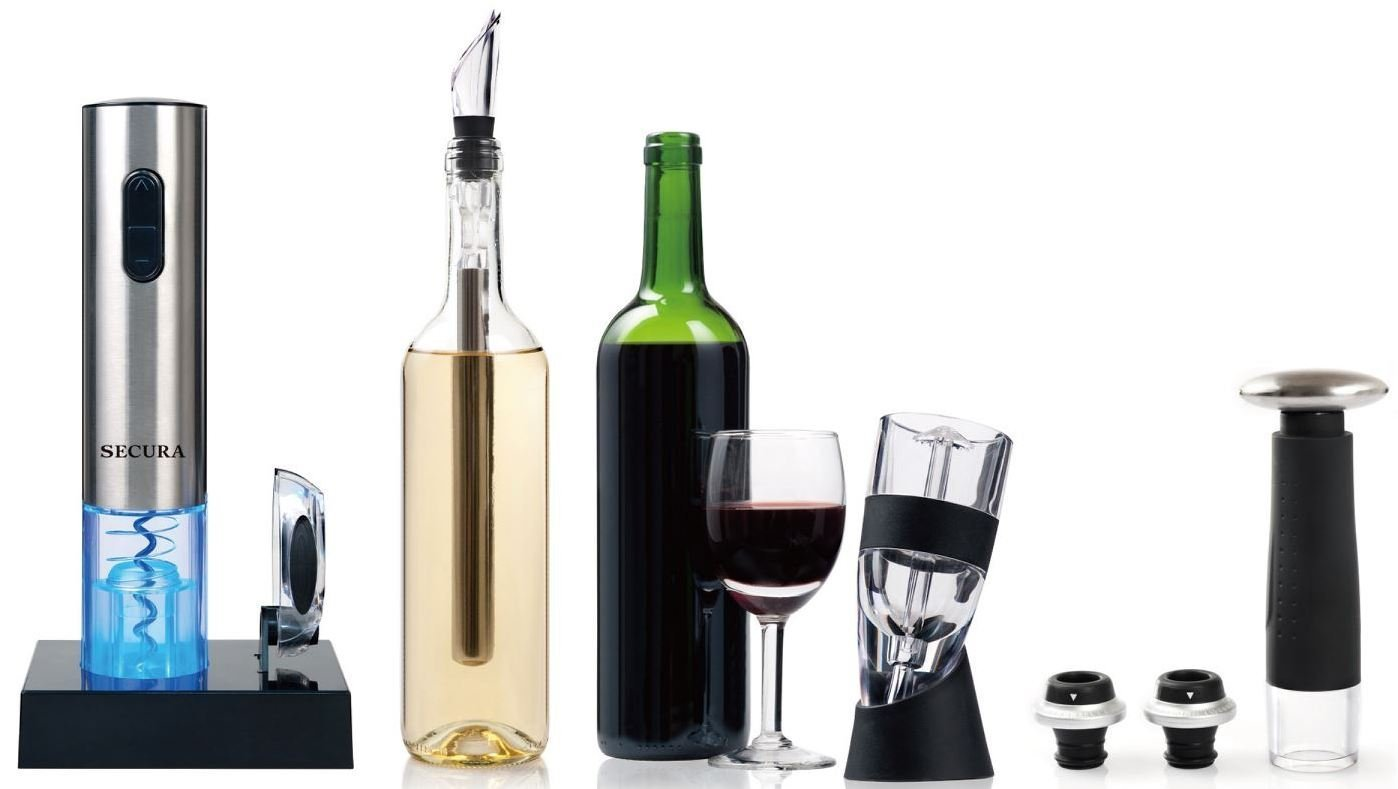 Secura Wine Lovers Gift Set 12-Piece Wine Accessories Set Electric Wine Opener, Wine Foil Cutter, Wine Aerator, Wine Saver Vacuum Pump + 2 Wine Stoppers by Secura (Image #2)
