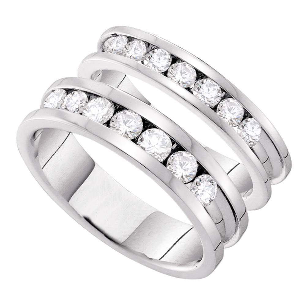 Amazon 14kt White Gold His Hers Round Diamond Matching Bridal Wedding Band Set 112 Cttw Jewelry: 14kt Gold Wedding Band Sets At Websimilar.org