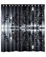 Unique And Generic New York Skyline Black And White Shower Curtain Custom  Printed Waterproof Fabric Polyester