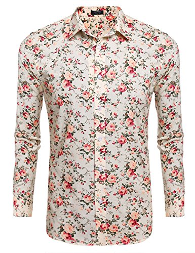 COOFANDY Men Casual Long Sleeve Stand Collar Button Floral Prints Shirts,Beige,Small