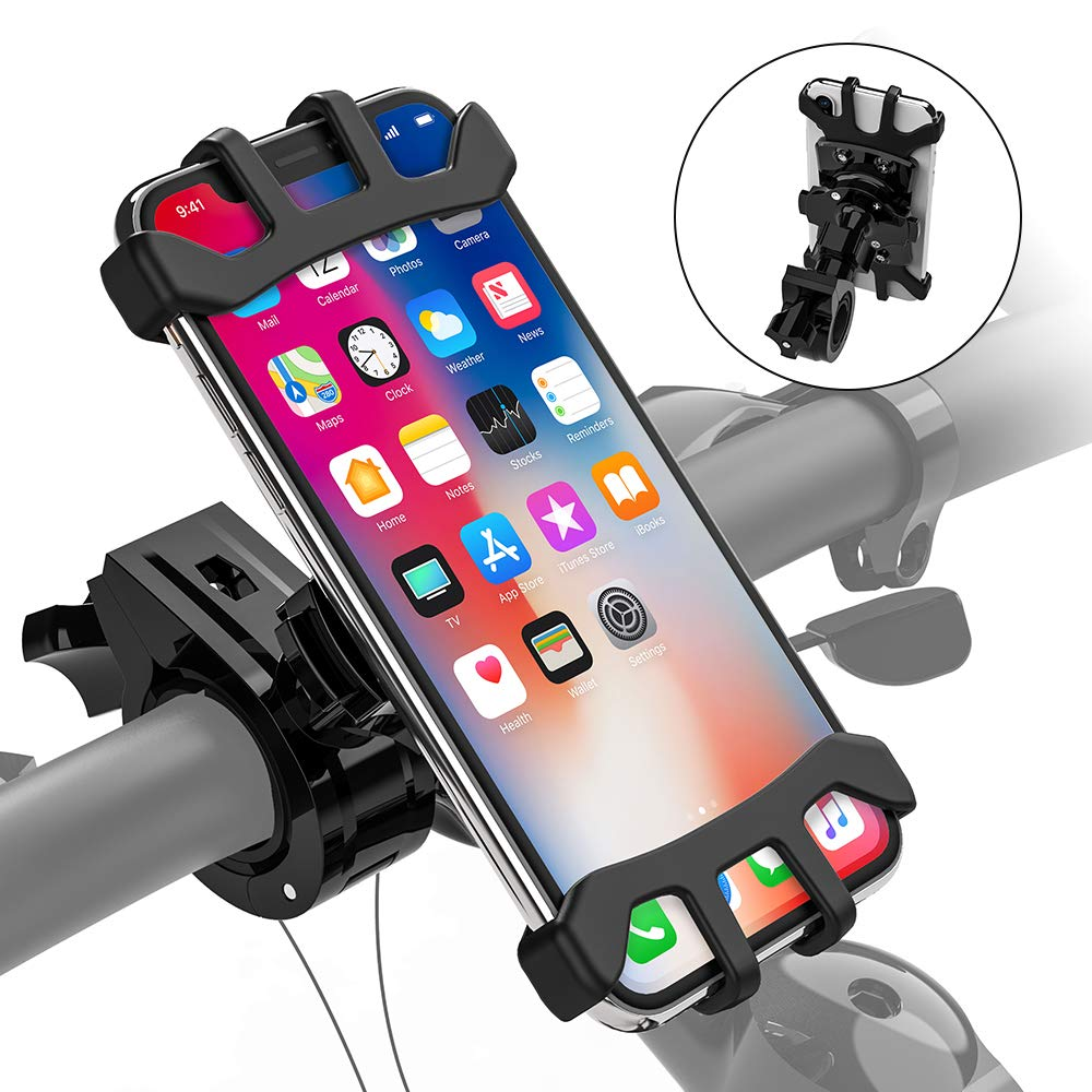 Bike Phone Mount for Motorcycle, Universal totobay Bike Phone Holder Handlebars, 360 ° Rotatable Adjustable Shock Compatible with iPhone Xs, X, 8, 8 Plus, 7other 4-6.5 inch Smartphone, GPS,etc (Black) TOTOBAY Direct