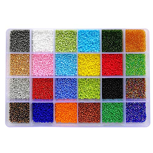 BALABEAD 24000pcs in Box 24 Multicolor Assortment 12/0 Glass Seed Beads 2mm Craft Seed Beads, Hole 0.6-0.8mm (1000pcs/Color, 24 -