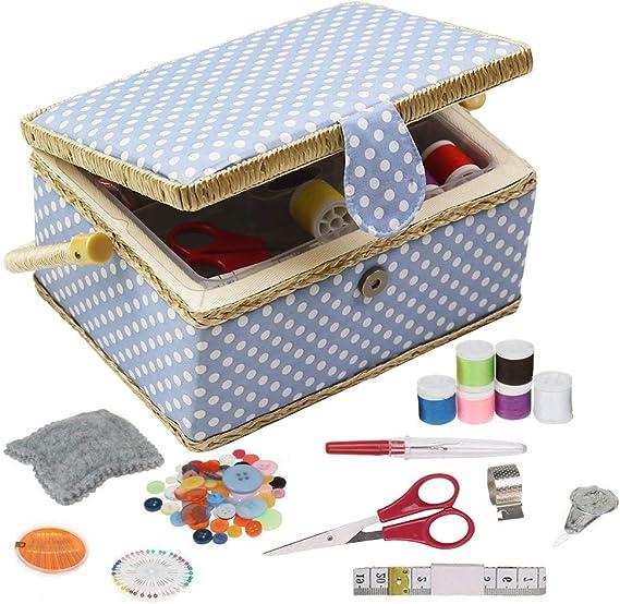 D & D de costura cesta organizador con accesorios, hogar caja de costura Kit de costura básicos para hogar y viaje, color azul lunares coser kits regalo: Amazon.es: Hogar