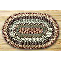 Earth Rugs C-413 Buttermilk / Cranberry Oval Braided Rug 3 Feet x 5 Feet