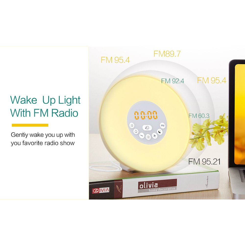 Reliatronic Sunrise Alarm Clock, Wake-Up Light Alarm Clock with 6 Nature Sounds, 7 Colors Light, FM Radio, USB Charger,Touch Control