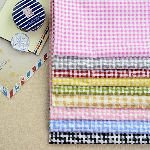(Medium Plaid Assorted Twill Cotton Fabric Quilt Fabric Fat Quarter Bundle Sewing Handmade Textile Fabric Material Size 40 x 50cm)