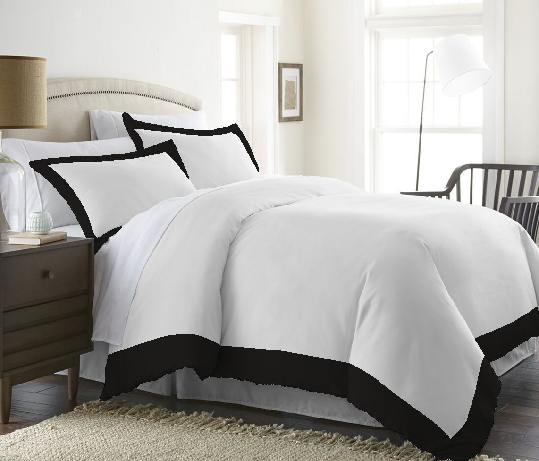 Solid Pattern 2 Pcs Pillow Shams 100/% Cotton King 20 x 40 Inch Black