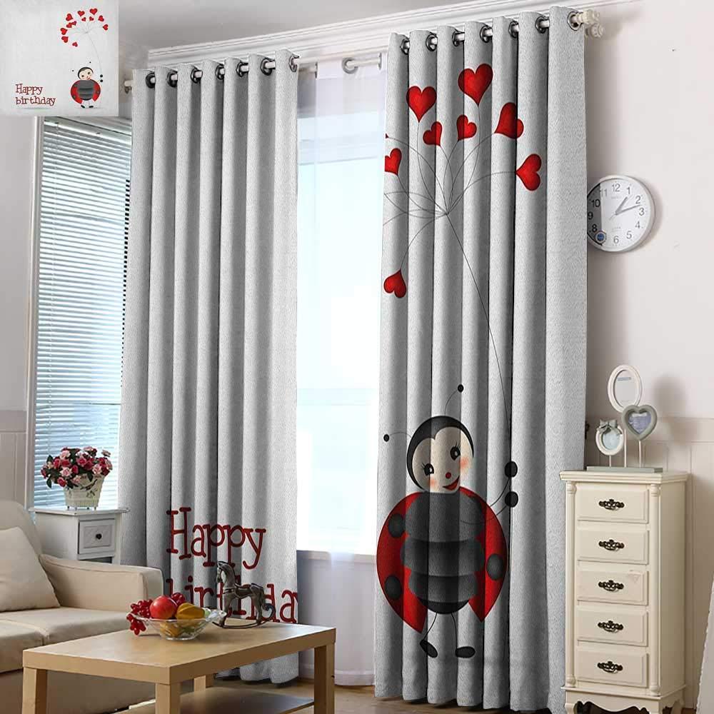 Acelik Grommet Window Curtains Kids Birthday Ladybug Wings Flower Inspired Heart Shaped Celebration Balloons Room Darkening, Noise Reducing 72'' W x 84'' L Red Black and White
