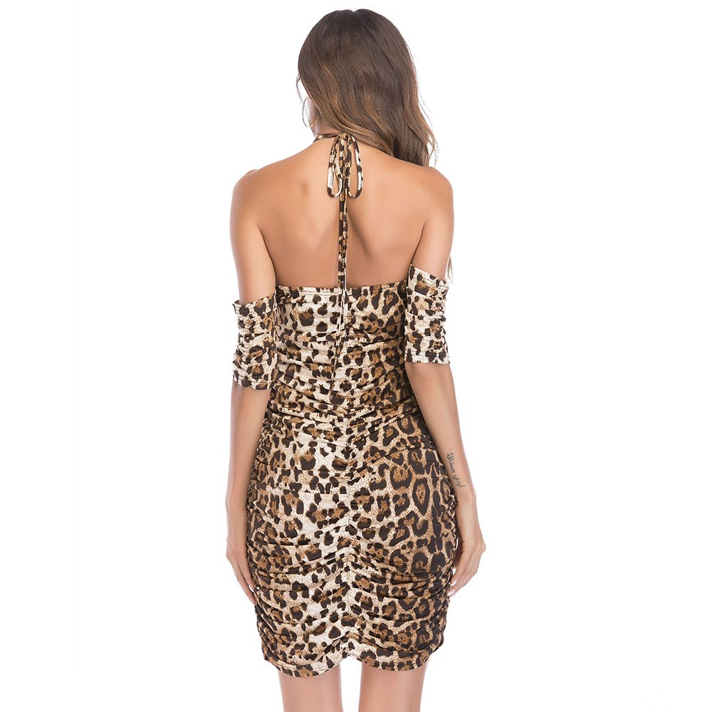 Aiyou Women\'s Sexy Hater Neck Leopard Print Drapes Bodycon Mini Dresses Small Leopard