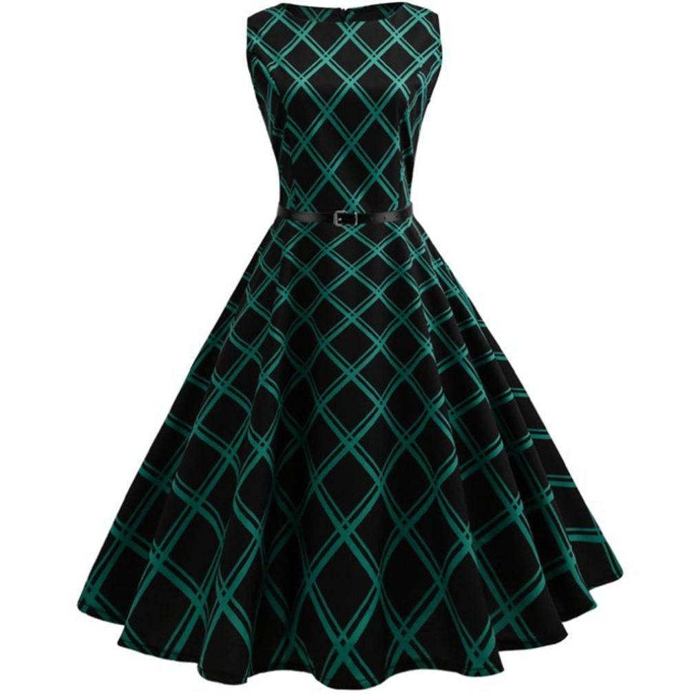 Women Party Dress Promotion!Rakkiss Vintage Floral Bodycon Plaid Sleeveless Casual Evening Party Dress