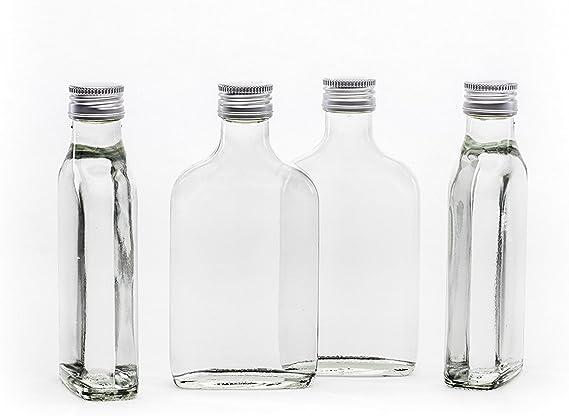 Slkfactory 20 bouteilles en verre vides, 200 ml Avec bouchon à visser Liqueur, Alcool, Bouteilles de vinaigre, bouteilles d'huile, petites