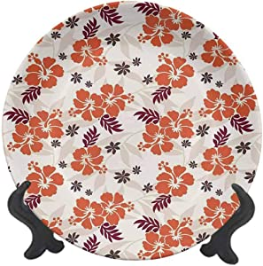 "Hawaiian Decorations Queen Size 6"" Ceramic Decorative Plate,Holiday Beach Romance Resort Warm Colors Leaf Trendy Modern Illustration Dinner Plate Decor Accessory for Pasta,Salad,Party Kitchen Home Dec"