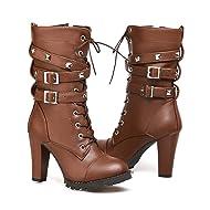 Mostrin Women Motorcycle High Heels Punk Buckle Rivet Strap Combat Military Mid Calf Boots
