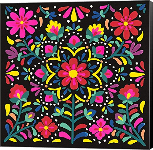 Floral Fiesta II by Laura Marshall Canvas Art Wall Picture, Museum Wrapped with Black Sides, 24 x 24 inches