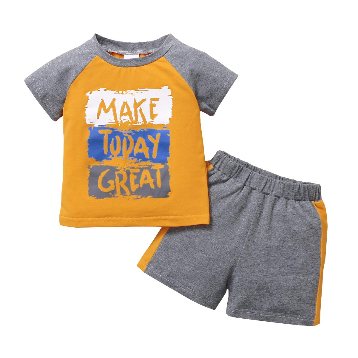 nilikastta Toddler Boy Clothes 12M-5Y Baby Boy Summer Outfits Printed Letters Dinosaur