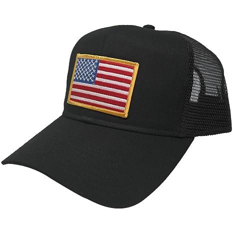 AC Racing USA American Flag Patch Snapback Trucker Mesh Cap - Black ... 2bd36579718