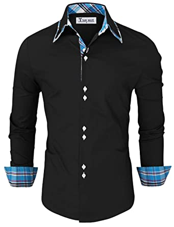 48ee8d4764b TAM WARE Mens Trendy Slim Fit Inner Checkered Button Down Shirt TWNMS323S- BLACK-US