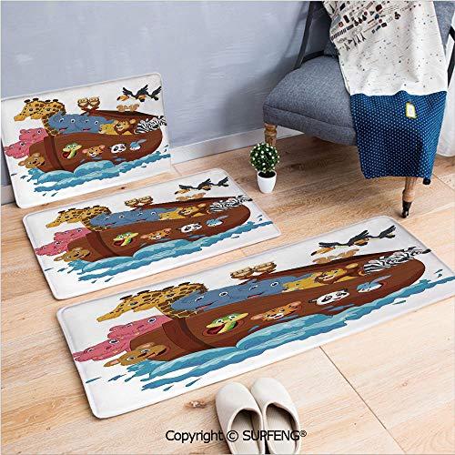 - Bath Rug Noahs Ark,Noahs Ark Owl Pet Rabbit Mouse Old Testament Symbol Cheery Joyful Display,Multicolor 3 Piece Water Uptake Anti-Skid Cartoon Carpet
