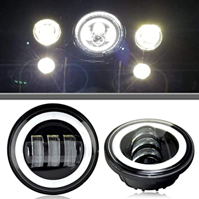 AUSI Black 4.5 INCH HALO Fog Lights Passing Lamps DRL bulb For Harley Davidson: Automotive