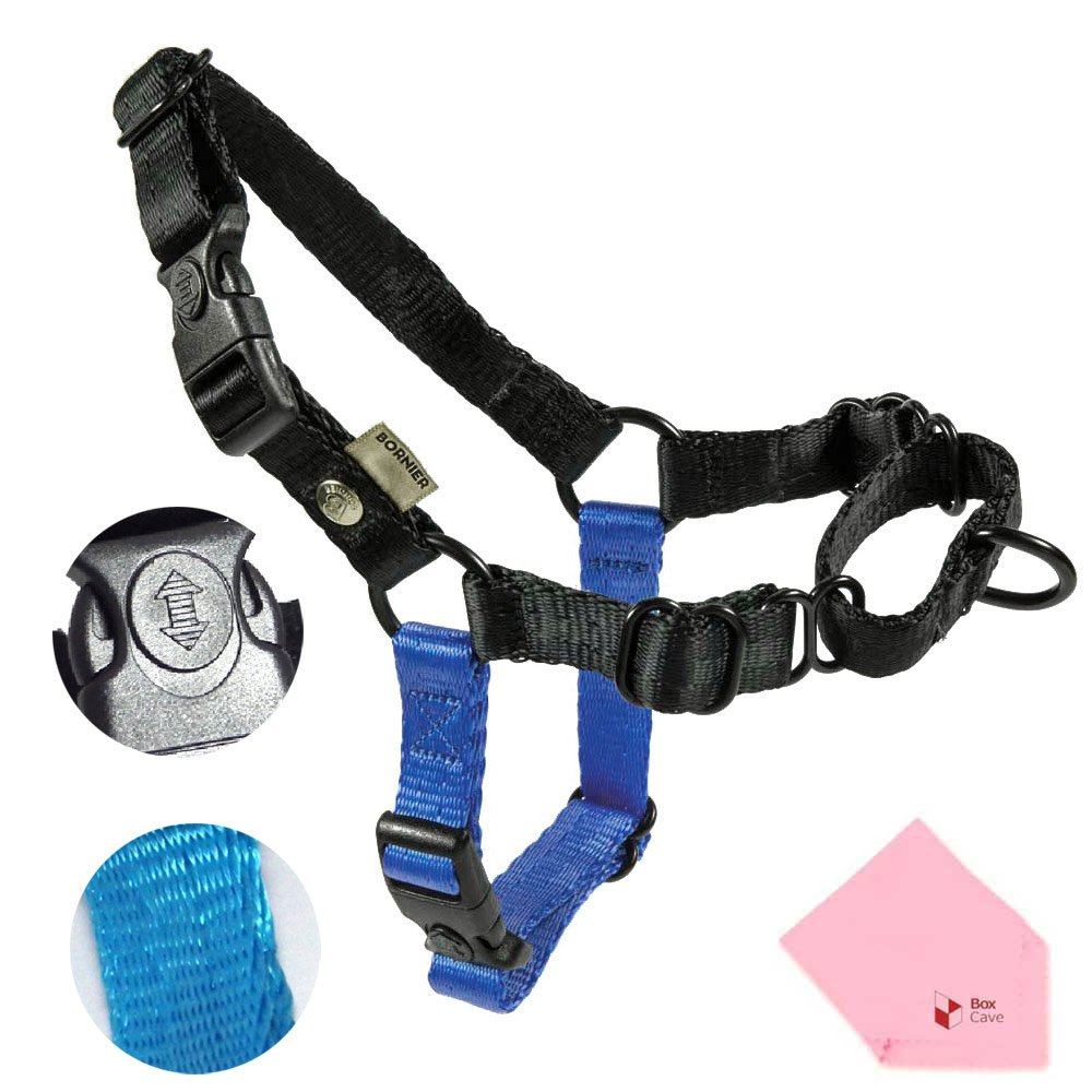 Black 19.6''-27.5'' (Chest Girth)  Black 19.6''-27.5'' (Chest Girth)  BORNIER No Pull & No Choke, Smooth, Adjustable & Heavy Duty Dog Walking Harness (Harness Only, Leash Not Include) (Comes W BoxCave Microfiber Cleaning Cloth) (19.6''-27.5'' (Chest Width