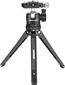 Neewer Portable Compact Desktop Macro Mini Tripod 7.5inches/19 Centimeters with 360 Degree Low-Profile Ball Head, 1/4 inch Quick Release Plate for Canon Nikon DSLR Camera,Load up to 17.6pounds