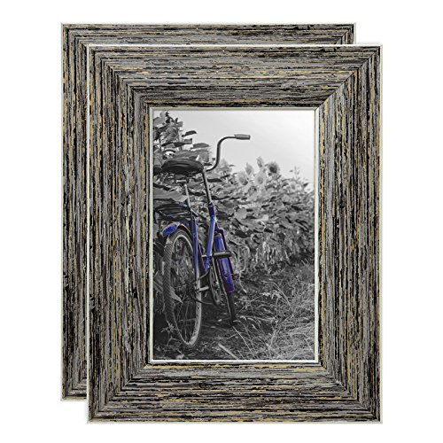 Americanflat 2 Pack - 4x6 Tan Rustic Picture Frames - Built-in Easels - Wall Display - Tabletop Display