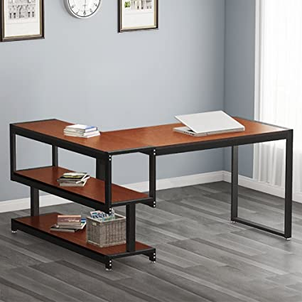Beau Little Tree L Shaped Computer Desk With Storage Shelf,Industrial 59u0026quot; Corner  Office Desk