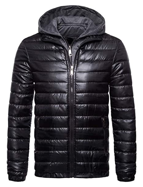 036859ca6 SOMTHRON Men s Winter Thermal Hooded Puff Parka Jacket Lightweight ...