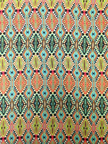 Stretch Non Fabric - Diamond Tribal Repeat Pattern on Non-Stretch Lightweight See Through Polyester Chiffon Fabric By the Yard