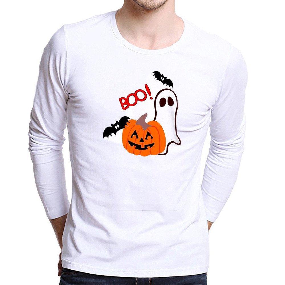 Halloween Men Tops,KIKOY Pumpkin Cat Printing Long Sleeve T Shirt Plus Size Blouse