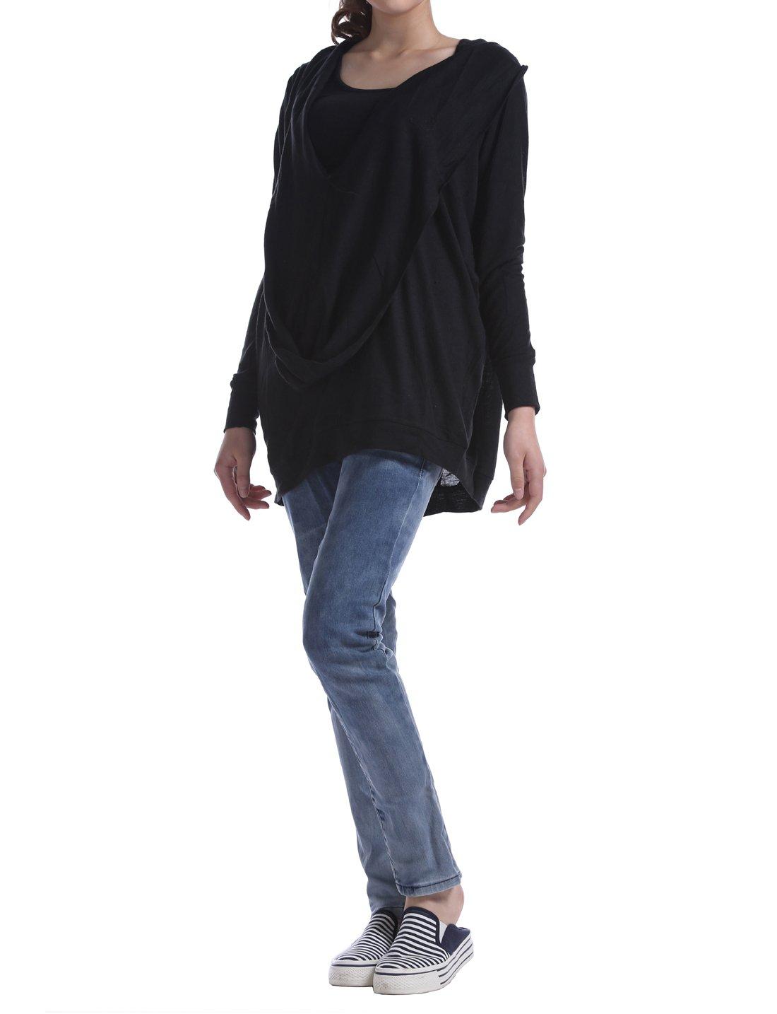 Huan Xun Women's Deep V Neck Draped Front Batwing Knitwear Blouse Cotton (Black)