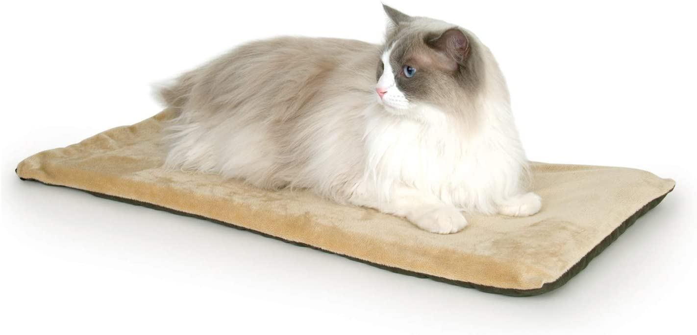 K&H Pet Products Thermo-Kitty Mat Heated Pet Bed Mocha 12.5 X 25 Inches : Pet Beds : Pet Supplies