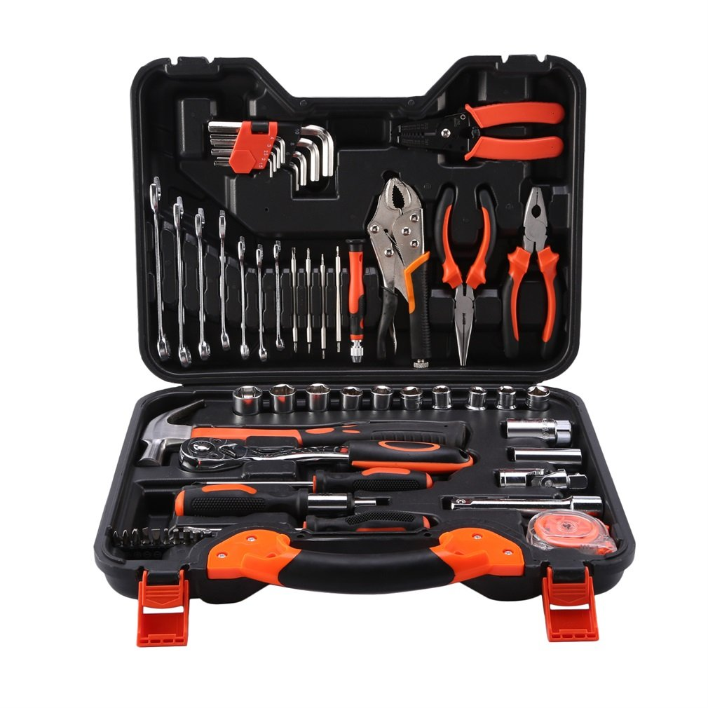 ICOCO Precision Tool Kit for Auto Repair Home Maintenance with Plastic Toolbox Storage Case,55-Piece