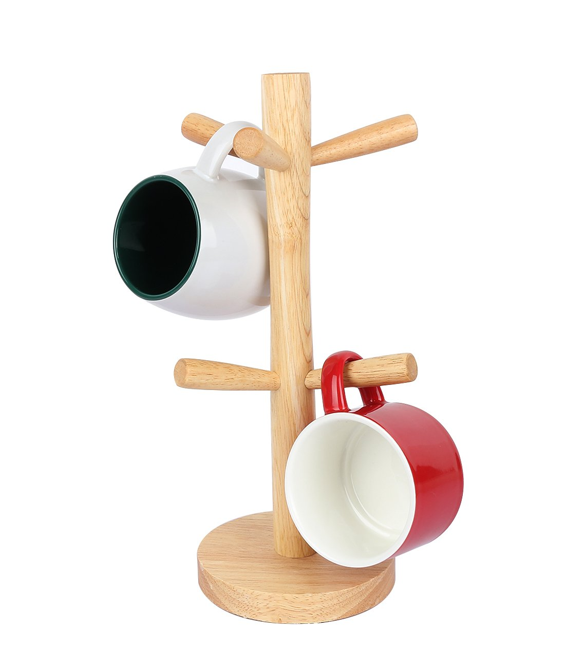 Fecihor Wood Mug Tree 6 Cup Holder for Kitchen Cups Organizer,Coffee Mug Drying,Creative Jewelry holder Storage Racks