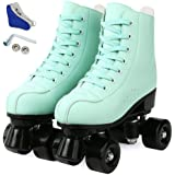 Gets Roller Skate Shoes for Women Men,PU Leather High-top Double-Row 4 Wheel Roller Skates for Beginner, Unisex Indoor Outdoo