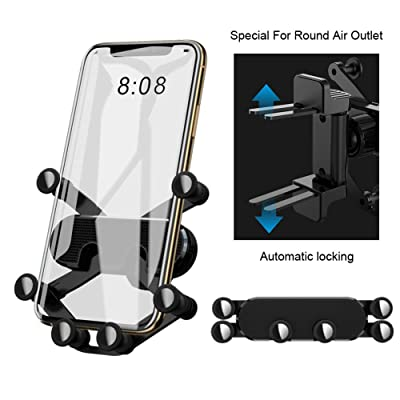 Round Air Vent Car Phone Mount, Auto Retractable Automatic Locking Gravity for 4.5-6.6 Inch Phones