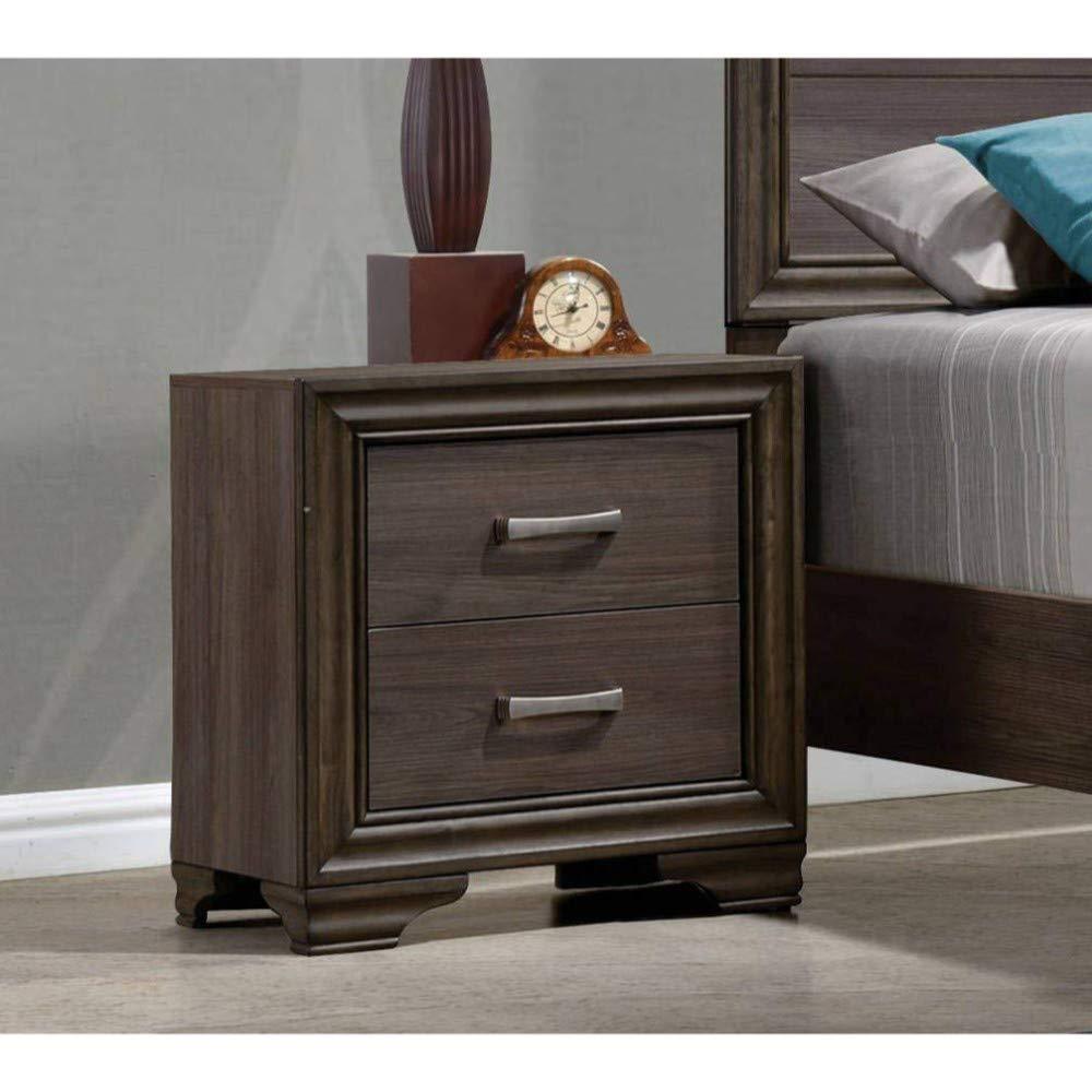 Benzara BM185436 Wooden Storage Nightstand Brown