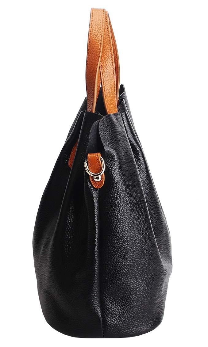 Molodo Womens Satchel Hobo Top Handle Tote Geuine Leather Handbag Shoulder Purse,Black,Large by Molodo (Image #3)