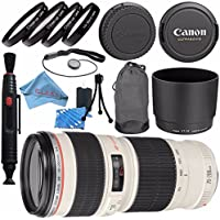 Canon EF 70-200mm f/4L USM Lens 2578A002 + 67mm Macro Close Up Kit + Lens Cleaning Kit + Lens Pen Cleaner + Fibercloth Bundle