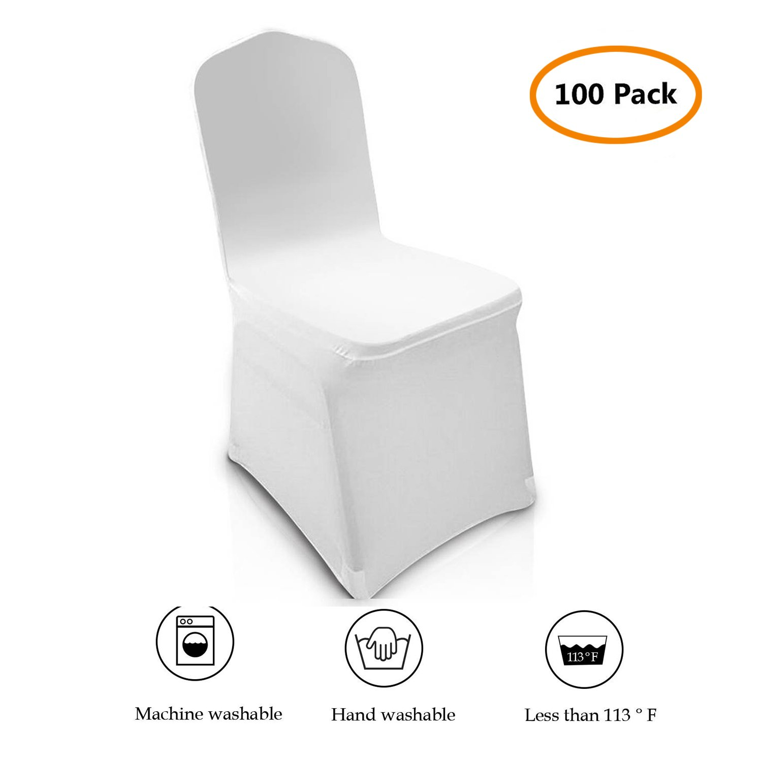 100 pcs Universal Chair Covers Spandex White for Wedding Party Banquet Folding Chairs Decoration [US Stock] (White 2)
