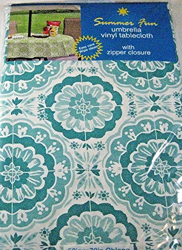 Summer Fun Flannel Back Vinyl Umbrella Tablecloths with Hole and Zipper- Sumburst of Medallions-Aqua and White--Assorted Sizes (70 Round)