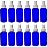 Cobalt Blue 4 oz Boston Round PET (BPA Free) with White Fine Mist Sprayer (12 pack) + Labels