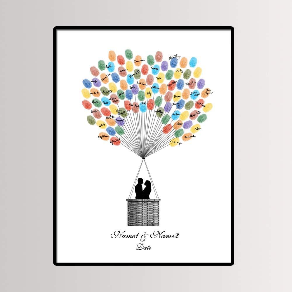 Empreinte Digitale Sign-on Arbre,pour Signatures Et Empreintes Digitales De Pouces pour F/ête De Mariage Et Bricolage par The Couple Hugging dans Une Montgolfi/ère WYEING avec 1 Long Tampon Encreur