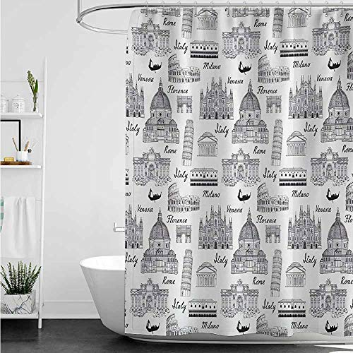 - Waterproof Bathtub Curtain,City Monochrome Sketch Style Famous Places from Italy Rome Milano European Architecture,Shower Curtain bar,W94x72L,Black White