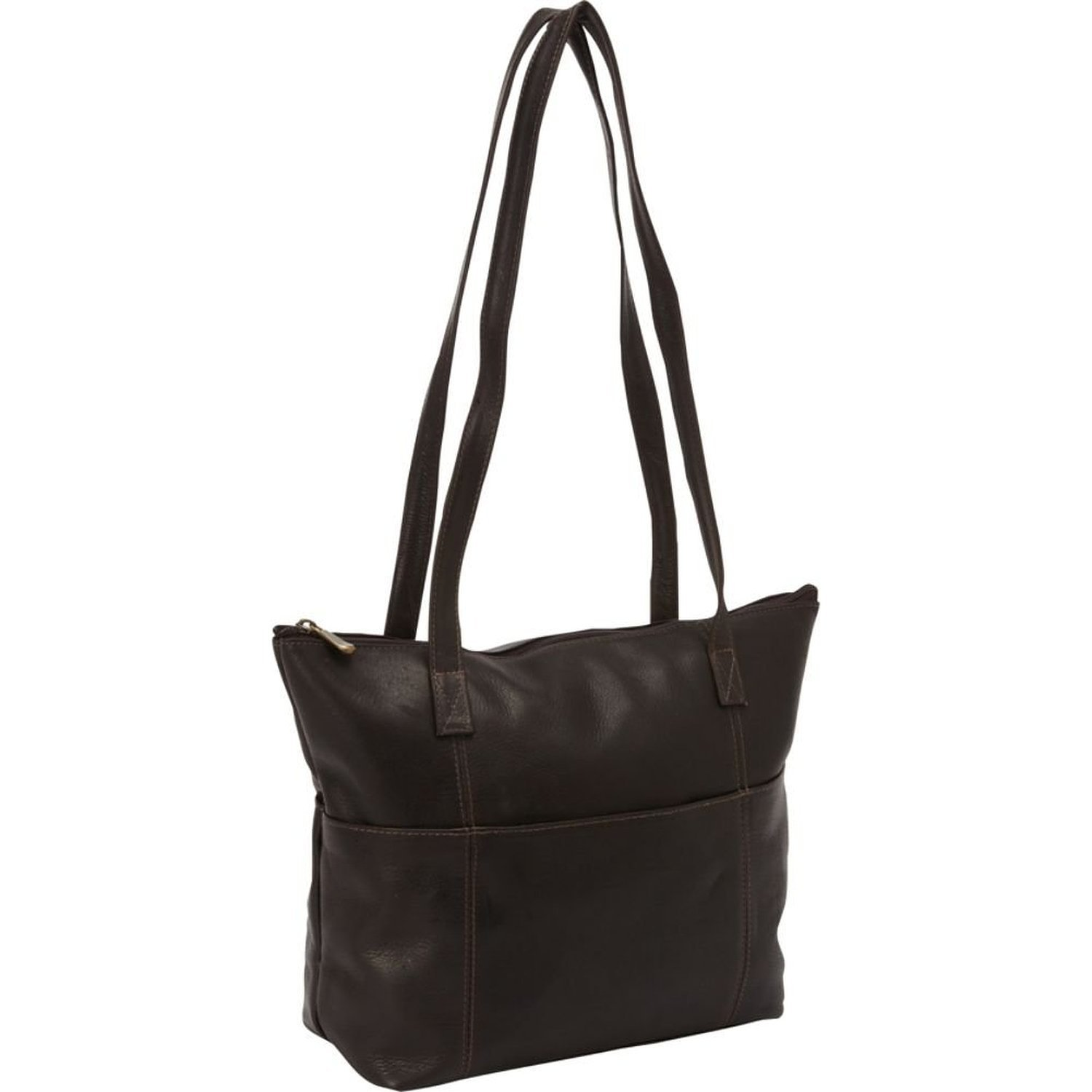 David King Leather Top Zip Shopping Tote in Cafe