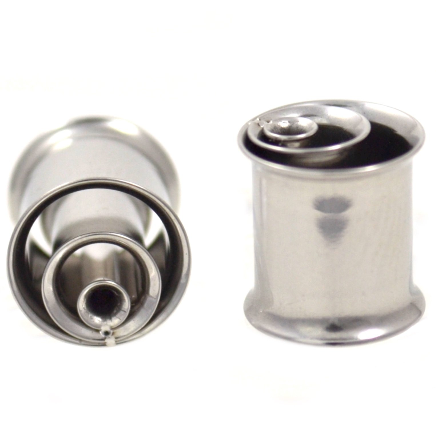 Pair (2) Steel Hypnotic Inner Rings Ear Plugs Unique Double Flared Stainless Tunnels - 1/2'' 12MM