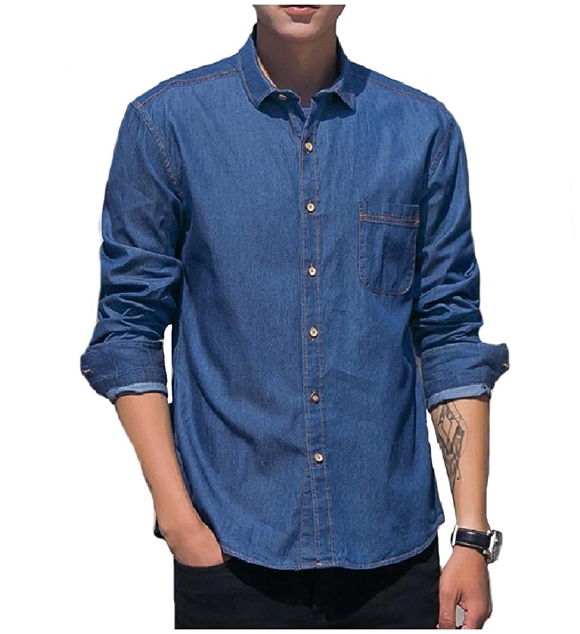 RDHOPE-Men Denim Chino Button-Front Basic Cotton Relaxed Fit Work Shirt